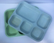 VTG Cafeteria Food Trays // School Lunch // Divided Plate // Devine Foods // Set of 2 // Compartment Tray