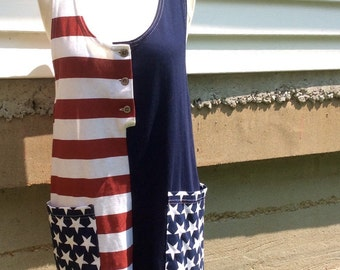 VTG D'Knits American Flag Romper // USA // 4th of July // Red, White and Blue
