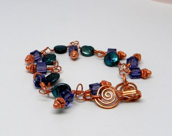 Hand linked Freshwater Coin Pearl & Copper Bracelet with Swarovski Crystal Elements.