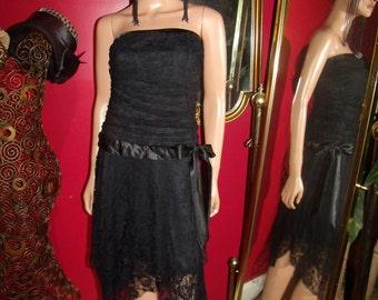 Black  Lace Vintage 80s  Flapper Dress   20's Theme Size M