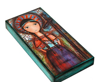 Saint Kateri -  Giclee print mounted on Wood (3 x 6 inches) Folk Art  by FLOR LARIOS