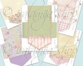 FLORAL ENVELOPES Collage Digital Images -printable download file Scrapbook Printable Sheet