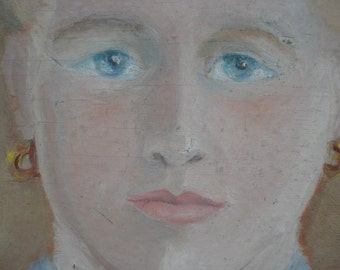 FOUND IN SPAIN - stylized girl - original painting - signed and dated 1944