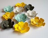 10 Summer Rain paper flower blossoms, wedding decoration, scrapbook decoration, table decoration, rosette, small flowers, embellishment