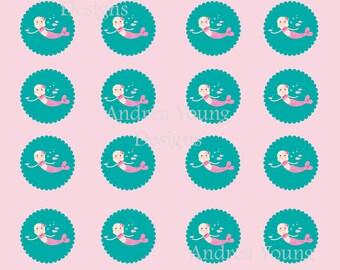 Printable Instant Download Mermaid cupcake toppers or seals