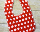 Red Stars Drooler Bib - Snap - Non wicking fleece back - Middle layer Organic cotton