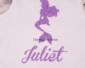 Personalized Glitter Tshirt Bodysuit Top Inspired by Princess Ariel by Charming Necessities, Toddler Girl Boutique Clothing Sparkle Shirt