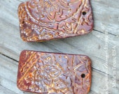 Copper Brown Pottery Cuff Bead in Paisley Pattern