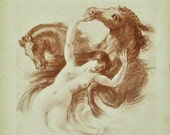 Nude Print 1910,  Erotic Nude with Horses Lithographs