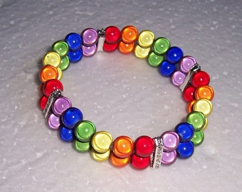 Double Row Miracle Bead Bracelet Rainbow Lesbian