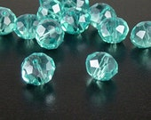 CLEARANCE Glass Bead 12 Aqua Blue Rondelle Faceted 10mm x 7mm (1014gla10b4)os