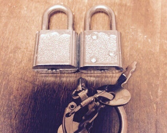 Two tiny locks and 3 keys on a ring.