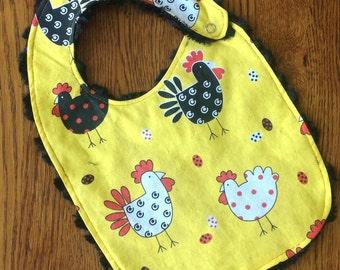 Chicken Minky Baby/Toddler Bib