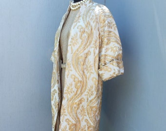 Vintage 1950s Gold and Silver Lame Swing Style Dress Coat / Evening Dress Coat