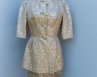 Vintage 60s 2PC. GOLD BROCADE Wiggle Dress w/Matching Short Coat by Claudia Young / Elbow Sleeves