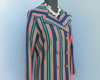 Vintage 1970s Jacket, California, Stripe Jacket w/Notched Collar, Double Breasted, Lightweight Red Blue and Green Stripes / 34 Bust or 86 cm