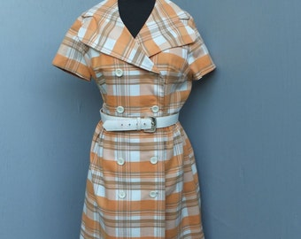 Vintage Nancy Greer New York Day Dress / Double Breasted Dress, Size 16 / Orange, Brown and Cream