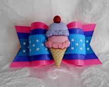 """Dog Bow- 7/8"""" Double Scoops in Strawberry"""
