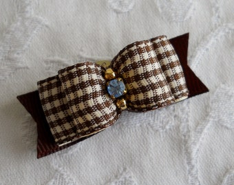 "5/8"" Brown Mini Gingham Dog Bow"