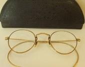 VTG Spectacles 12K GF Gold Filled Rx Wire Rimmed Eyeglasses Ostrich Case Steampunk Classic Vintage