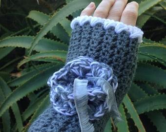 Crochet Gloves Fingerless Mitts Grey Gloves