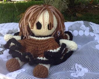 Handmade Crochet Doll Brown Dress Bed Doll
