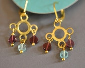 Garnet and Apatite Cloud and Rain Dangle Earrings