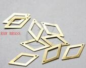 30pcs Raw Brass Rhombus Charm - 26x14mm (3030C-W-165)