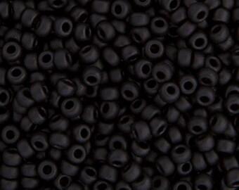 20 Grams Japanese Miyuki 8/0 Seed Bead - Black Matte - 3mm (8-0401F)