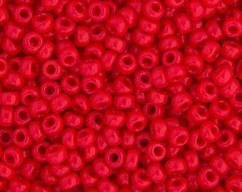 20 Grams Japanese Miyuki 8/0 Seed Bead - Red Opaque - 3mm (8-0408)