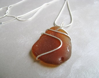 Sea Glass Pendant - Sea Glass - Amber Brown Sea Glass - Beach Glass Jewelry