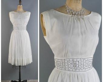Vintage 1950s Dress // 1950s Dress // 50s Wedding Dress // Grecian Wedding Dress //  White Chiffon Dress // Boatneck Dress - sz M 28 Waist
