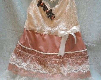 50% OFF - TUNIC Top Cami Romantic Boho Lace Beadwork - Vintage Cami Make Over - Copper and Ivory