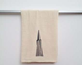 Flour Sack Dish Towel - Transamerica Pyramid Building in grey ink - San Francisco Bay Area Landmark - Financial District