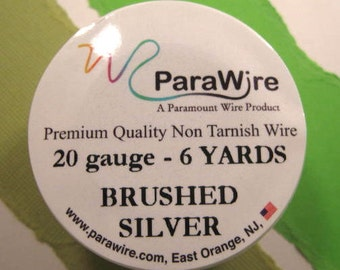 Brushed Silver 20 Gauge Round Wire from ParaWire - 6 Yards Spool
