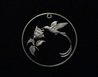 Hummingbird - cut coin pendant - JAMAICA - 1987