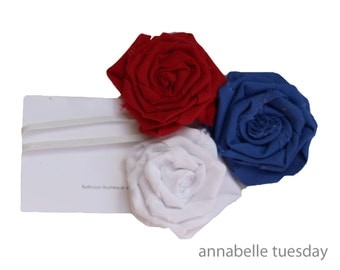 Red, White and Blue Shabby Rose Headband. 4th of July Patriotic Baby Skinny Elastic Headband