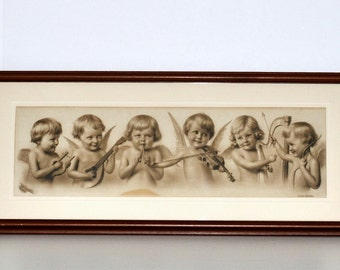"""Antique W. L. Haskell """"Cupid's Orchestra"""" Sepia Color Lithograph, circa 1900"""