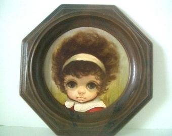 Vintage Big Eyed Girl Framed Picture Small