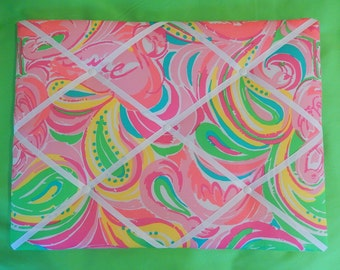 New memo board made with Lilly Pulitzer Multi All Nighter fabric