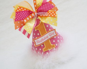 Hot Pink, Orange, and Yellow Polka Dot Party Hat - You are my sunshine, Lemonade Stand Birthday Party