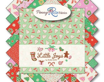 "FABRIC Charm Pack 5"" squares LITTLE JOYS Christmas 42 squares"