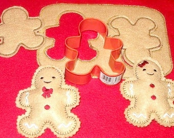 Gingerbread cookie dough play pretend felt food set, This set includes the cookie dough 2 felt cutouts and 2 stuffed #PF2556