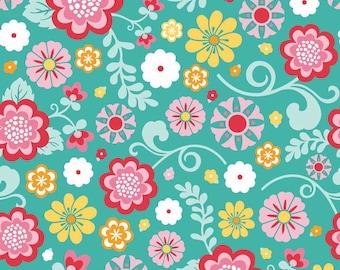 Riley Blake Fancy Free teal floral print