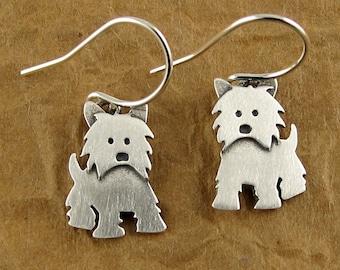Tiny Westie earrings