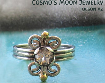 Unique Spiral ring with bright White topaz Gemstone - size 7-  sterling silver and 14k gold