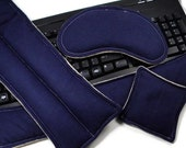 Office Gift Set, Hot Cold Therapy Packs, Relax Gift Set for coworker, boss, secretary, Desk Set Keyboard Mouse Wrist Pads, navy tan