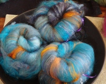 Bluebell Flames spinning batts made with merino, mohair, angora and silk with sparkle, 3 oz