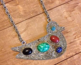 Vintage Lisner Indian Wirework Style Gemstone Bird Necklace