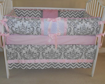 Chevron and Damask Grey and Pink 4 piece baby bedding